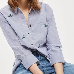 Topshop Floral Embroidered Striped Shirt Size 8